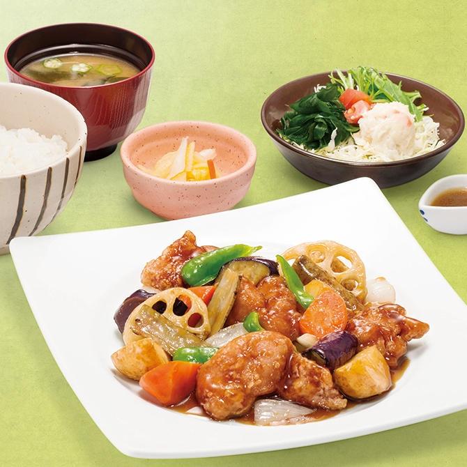 鶏と野菜の黒酢あん定食