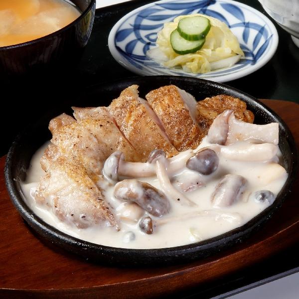 鶏グリル定食~キノコクリームソース~